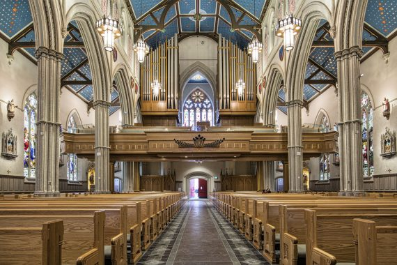 Casavant Organ, Opus 3907 (III-56/76 ranks), inaugurated Sept. 29, 2016. St. Michael's Cathedral Basilica, Toronto, Canada. Photo credit: Robert Hiller.